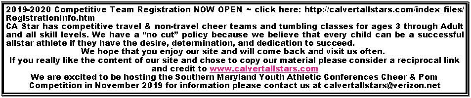 Text Box: REGISTRATION FOR THE 2015-2016 Season is OPEN!  ~ Click Here 
